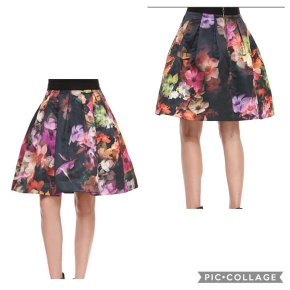 7ccd203ec Ted Baker Cascading Floral Pleated Full Skirt SZ 3.  M_5bc64f4c3c9844ba790d6c02